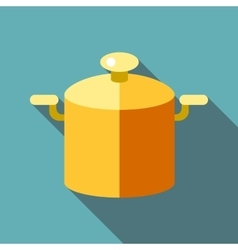 Pot with lid icon flat style vector