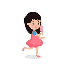 pretty brunette girl feeling happy with her ice vector image vector image