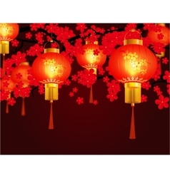 Red Chinese lanterns hung in the park Round shape vector image vector image