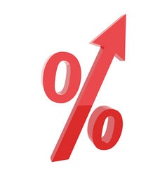 Red percentage symbol with an arrow up vector
