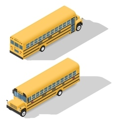 School bus detailed isonetric icons set frond and vector