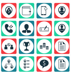set of 16 management icons includes phone vector image