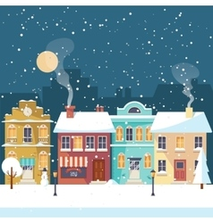 Snowy Christmas night in the cozy town greeting vector image