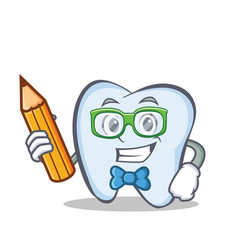 Student tooth character cartoon style vector
