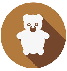 teddy bear flat icon with long shadow vector image