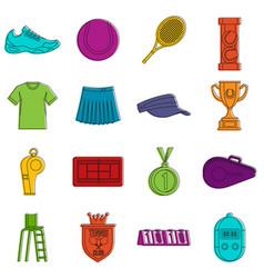 Tennis icons doodle set vector