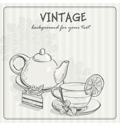 Vintage background with tea and the torus vector