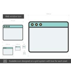 Web window line icon vector