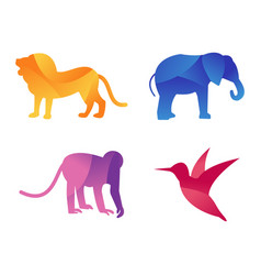 Wild animals jungle pets logo silhouette of vector