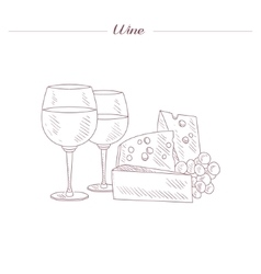 Wine And Cheese Date Set Hand Drawn Realistic vector image