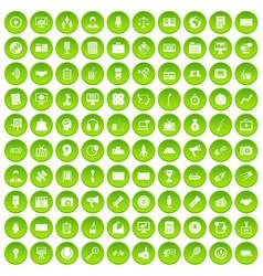 100 media icons set green circle vector