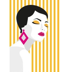 Fashion girl bold minimal style pop art opart vector