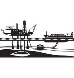 Tanker loading petrol from offshore oil rig vector