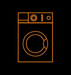 washing machine sign orange icon on black vector image
