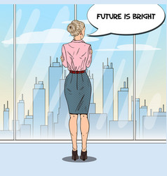Pop art business woman looking at city vector