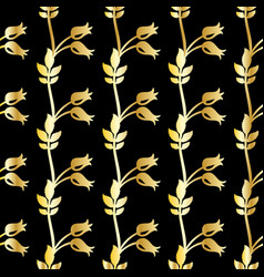 Seamless pattern with gold flowers vector