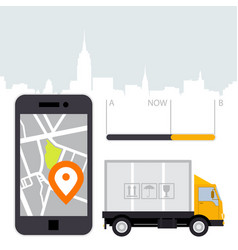 dlivery of cargo - location tracker app and mobile vector image