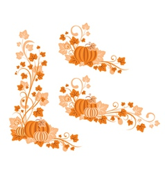 Set of pumpkin vignette vector