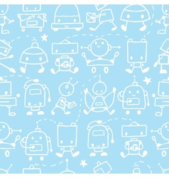 Doodle robots fun seamless pattern background vector