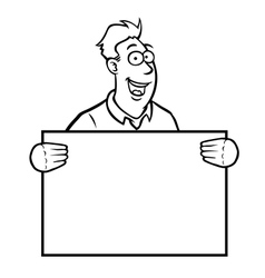 Black and white man holding a sign vector