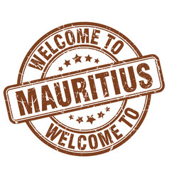 Welcome to mauritius brown round vintage stamp vector