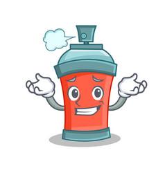 Grinning aerosol spray can character cartoon vector