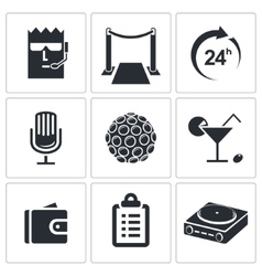 Night club icon collection vector