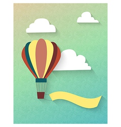 Flat balloon in clouds with ribbon vector