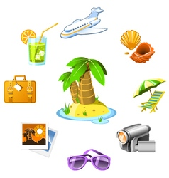 Travel and vacation resort icons vector