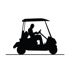 Golf vehicle in black and white vector