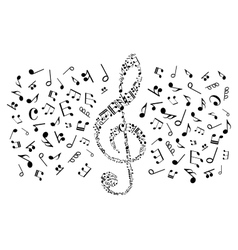 Decorative treble clef with musical notes symbols vector image