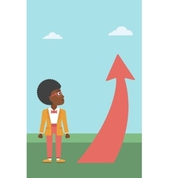 Business woman looking at arrow going up vector