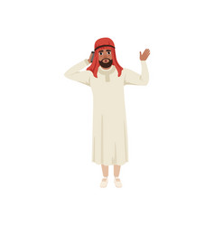 arabic businessman character talking by pone and vector image vector image