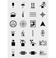 black marking cargo icons set vector image