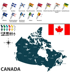 Canada map with flags vector image vector image