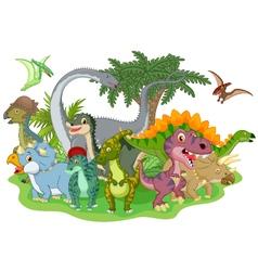 Cartoon group of dinosaur vector image