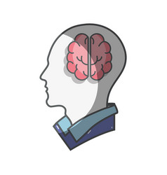 Color silhouette head with brain inside vector