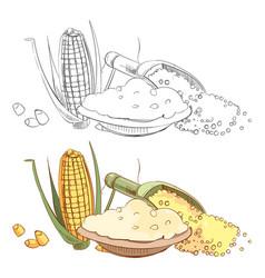 Corn porridge sketch coloring page vector
