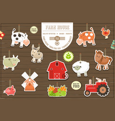 Farm stickers collection vector