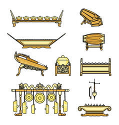 gamelan set with colour vector image