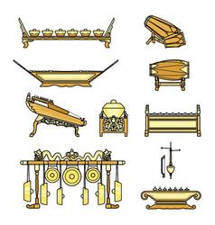 Gamelan set with colour vector