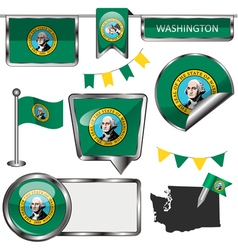 Glossy icons with Washingtonian flag vector image vector image