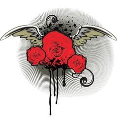 Grunge red rose design vector