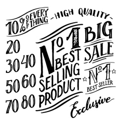 Hand lettered sale labels and design elements set vector image