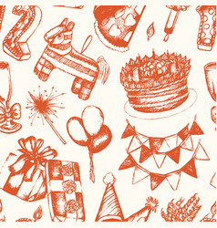 Happy birthday - hand drawn seamless pattern vector