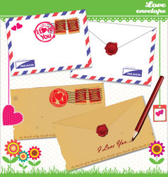 Love envelope - valentine scrapbook elements vector