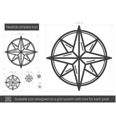 Nautical compass line icon vector