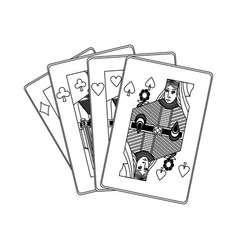 Poker casino cards queen symbol vector