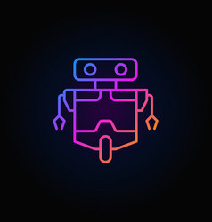 robot line concept colorful icon on dark vector image