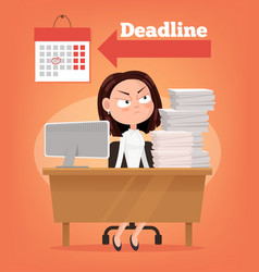 Sad unhappy angry office worker woman thinking vector